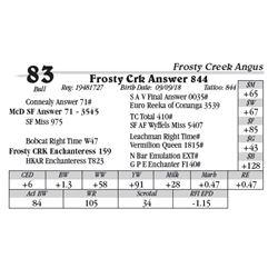 Lot  83 - Frosty Crk Answer 844
