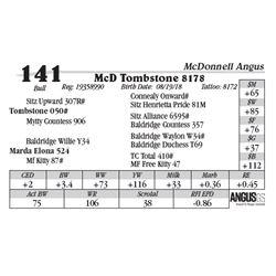 Lot  141 - McD Tombstone 8178