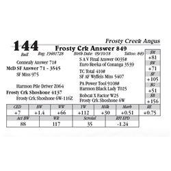 Lot  144 - Frosty Crk Answer 849