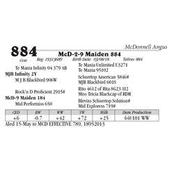 Lot  884 - McD-2-9 Maiden 884