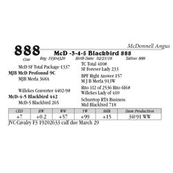Lot  888 - McD -3-4-5 Blackbird 888