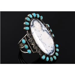 Navajo White Moss Agate & Turquoise Bracelet