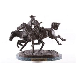 Frederic Remington Wounded Bunkie Western Bronze