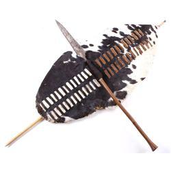 Zulu KwaZulu Cow Hide Tribal Shield & Kuwfta Spear