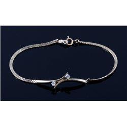 14K Gold & Diamond Herringbone Bracelet