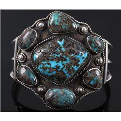 Navajo Bisbee Turquoise Silver Bracelet