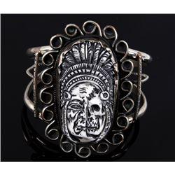 Navajo Scrimshaw & Sterling Silver Bracelet