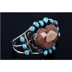 Navajo Heart Cut Agate & Turquoise Bracelet