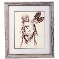 Signed 'Western Leader' Ink Drawing By M Moody