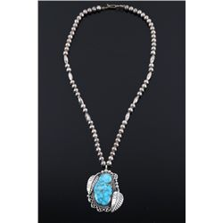 Navajo Sterling & Turquoise Pendant Necklace