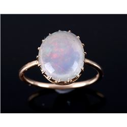 Art Deco c. 1930's Jelly Opal 14k Gold Ring