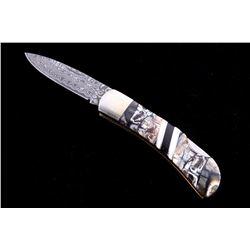 Mammoth Tusk Damascus & Jet Custom Knife