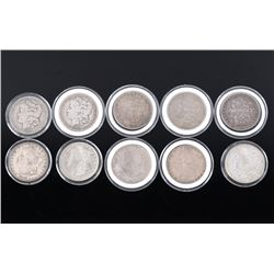 Collection of Ten Morgan Silver Dollar Coins