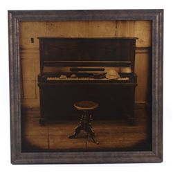 Saloon Piano & Stone Gold Foil Framed Photograph