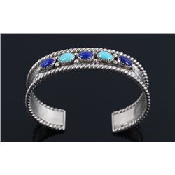 Navajo Sterling Turquoise & Lapis Lazuli Bracelet