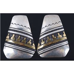 Navajo Tommy Singer Sterling & 14K Gold Earrings