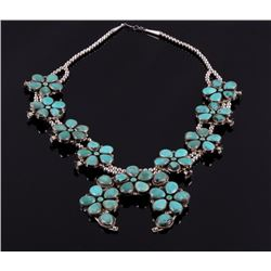Navajo Apache Blue Squash Blossom Necklace
