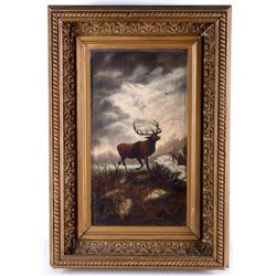 1800 Victorian Stag Painting in Gilt Frame