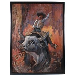 Signed Original Bull Rider Oil On Canvas Painting