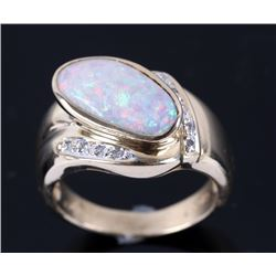 Lightning Ridge White Opal & Diamond 14K Gold Ring