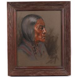 Signed Original Quenzler Pastel Indian Portrait