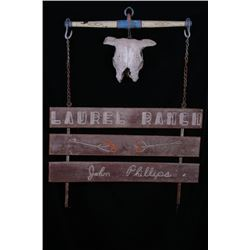 Mid 1900s Laurel, Mt Laurel Ranch Sign w/ Skull