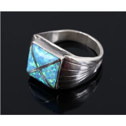 Signed Navajo Sterling Silver and Opal Ring