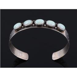 Navajo Sterling Silver & Fire Opal Bracelet