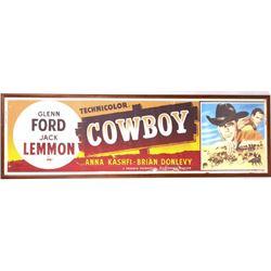 Cowboy c1958 Glenn Ford & Jack Lemmon Movie Poster