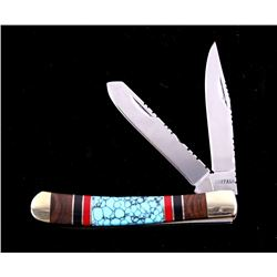 Navajo Turquoise & Coral Inlaid Buffalo Knife