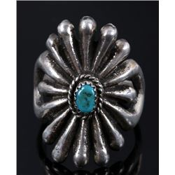Navajo Sand Cast Silver & Turquoise Ring