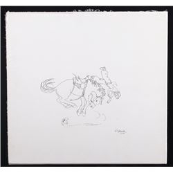 Virginia Snook Signed Bucking Bronco Sketch