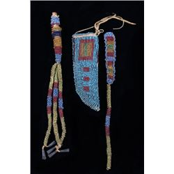 Sioux Fully Beaded Awl Case & Knife Sheath c. 1890