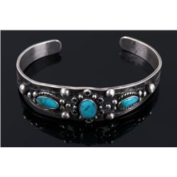 Fred Harvey Sterling & Turquoise Old Pawn Bracelet