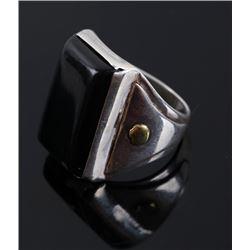 Navajo Sterling Silver 14K Gold & Jet Ring