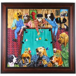 1989 Dogs Playing Pool by Mike Bradley