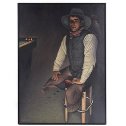 Greenhorn By Jim Leff Framed Oil on Canvas