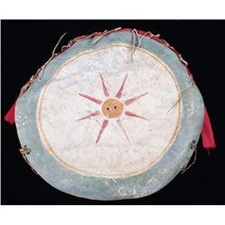 Apache Style Polychrome Parfleche War Shield