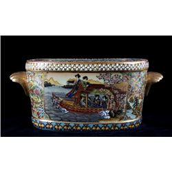 Japanese Satsuma Ornate Enamel Pottery Container
