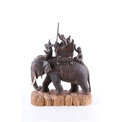 Early 1900's Carved Wood Elephant w/ Riders