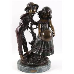 Auguste Moreau Boy & Girl w/ Ball Bronze Sculpture