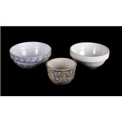 Early Sponge Ware Mixing Bowls (3)