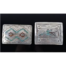 Two Navajo Turquoise & Coral Chip Inlay Buckles