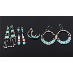 Navajo Sterling Silver & Turquoise Inlay Earrings