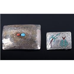 Two Navajo Sterling Turquoise & Coral Belt Buckles