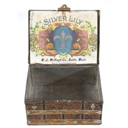 Early 1900's Silver Lily Butte Montana Cigar Tin