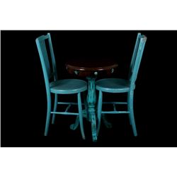 Western Teal & Cowhide Side Table & Chairs