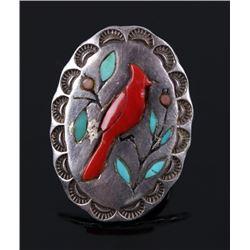 Navajo Sterling Silver Inlaid Coral Cardinal Ring
