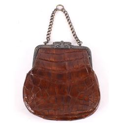 Alligator Hide & Silver clutch purse early 1900