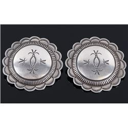 Signed Navajo Hand Tooled Sterling Silver Earrings